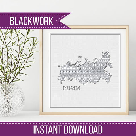Blackwork Pattern - Russia Blackwork