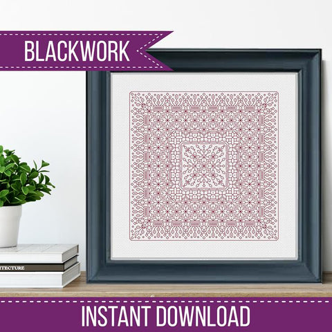 Blackwork Pattern -Study In Raspberry