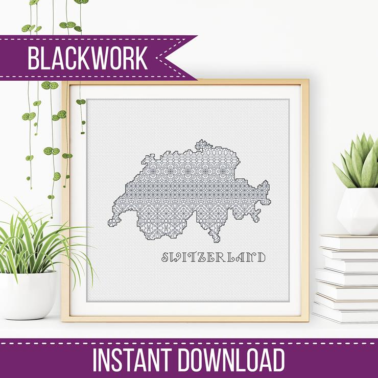 Blackwork Pattern - Switzerland Blackwork