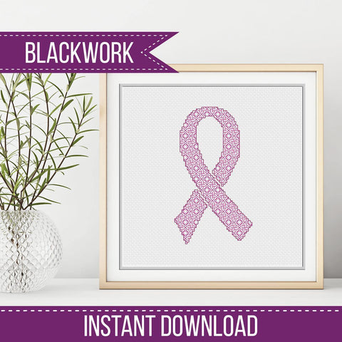 Blackwork Pattern - Awareness Ribbon
