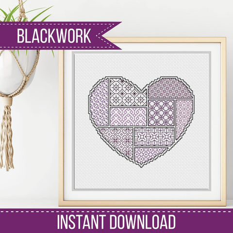 FREE BLACKWORK PATTERN - Blackwork Heart