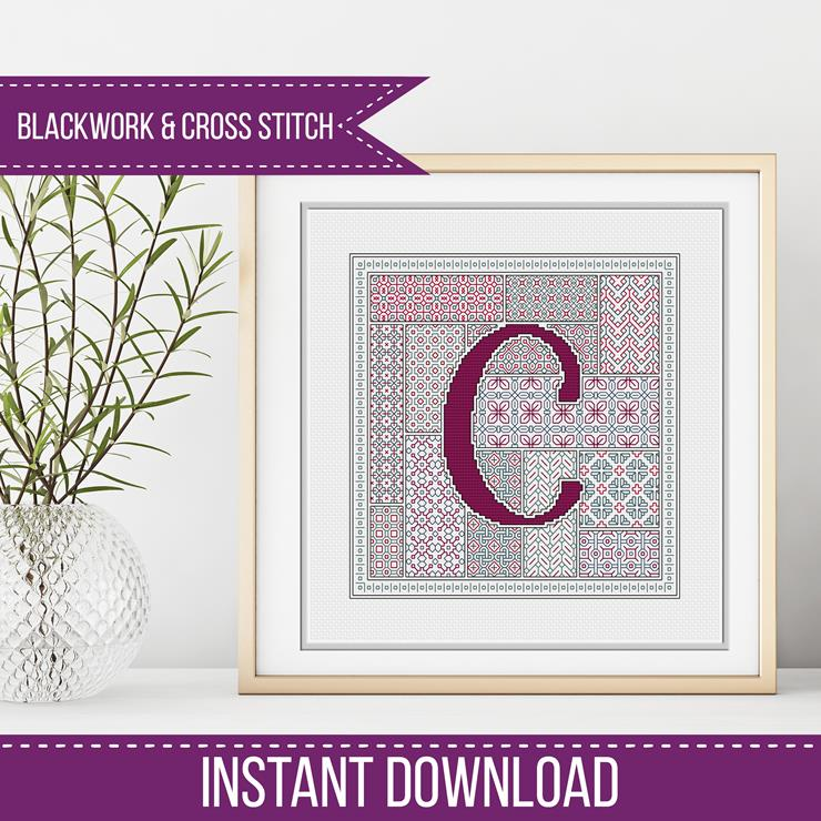 Blackwork Pattern - C - Blackwork Letter