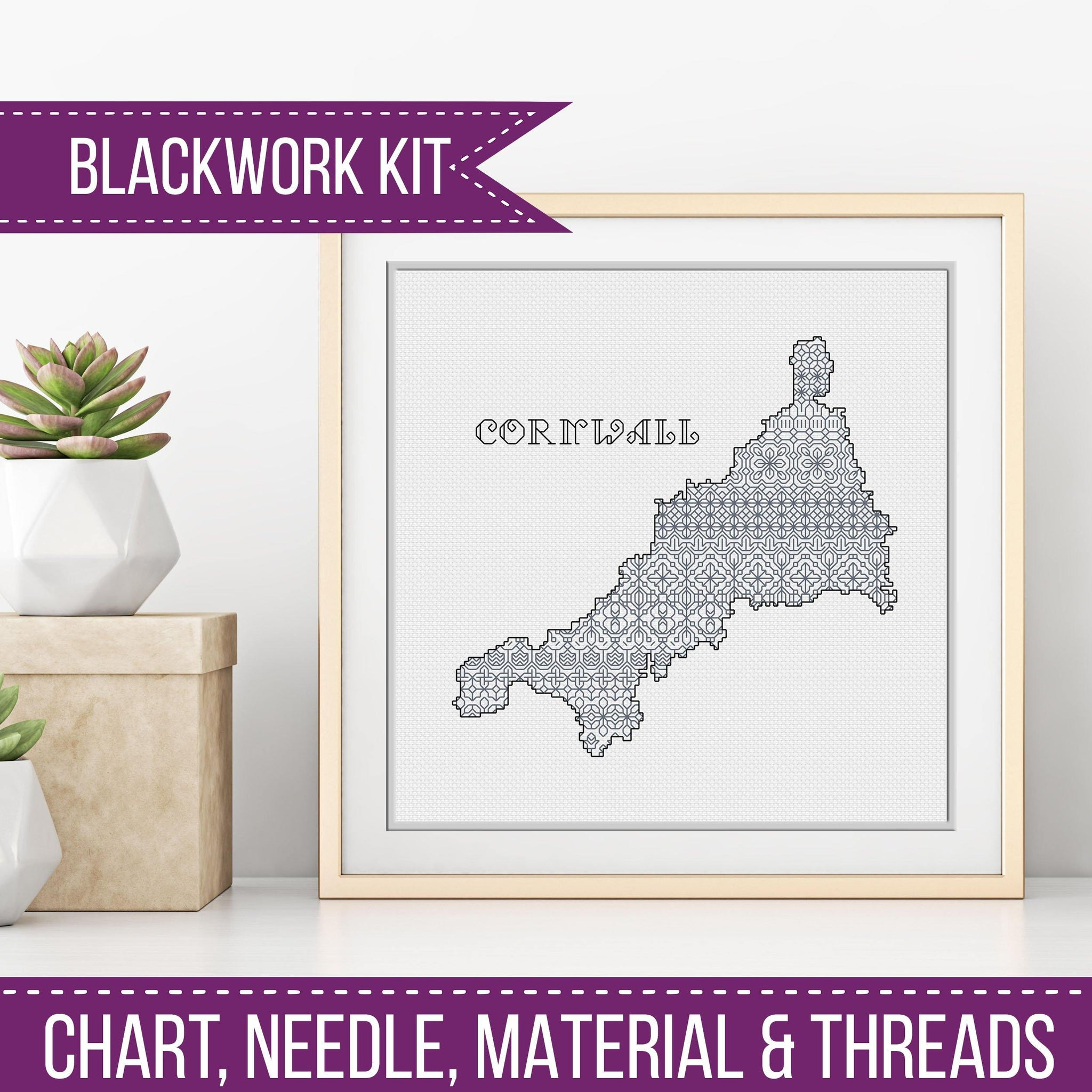 UK Counties Blackwork Kit