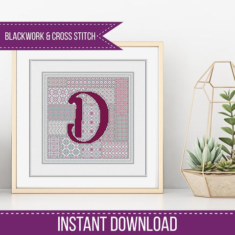Blackwork Pattern - D - Blackwork Letter