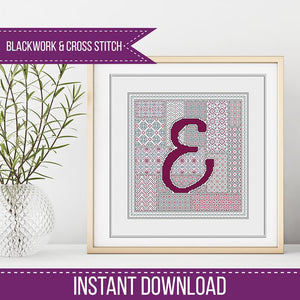 Blackwork Pattern - E - Blackwork Letter