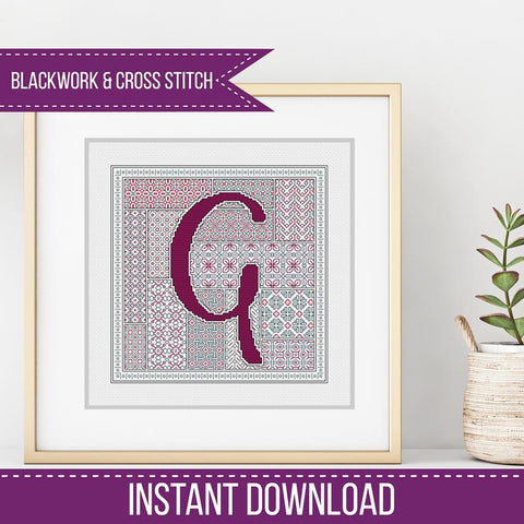 Blackwork Pattern - G - Blackwork Letter