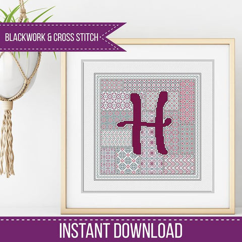 Blackwork Pattern - H - Blackwork Letter