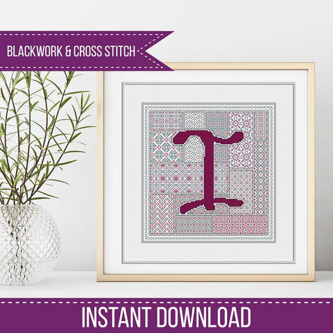 Blackwork Pattern - I - Blackwork Letter