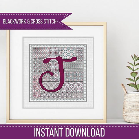 Blackwork Pattern - J - Blackwork Letter