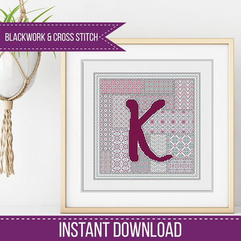 Blackwork Pattern - K - Blackwork Letter