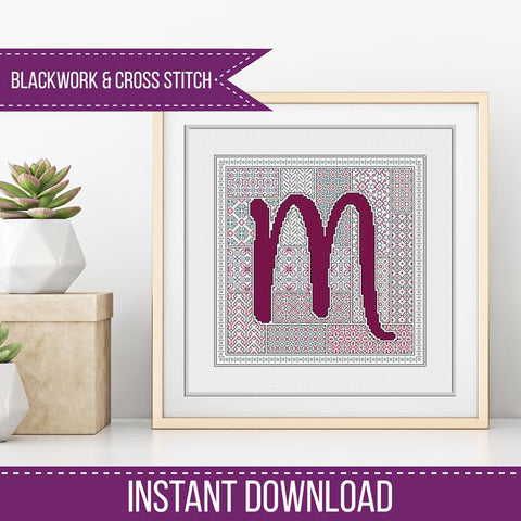 Blackwork Pattern - M- Blackwork Letter