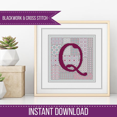 Blackwork Pattern - Q - Blackwork Letter