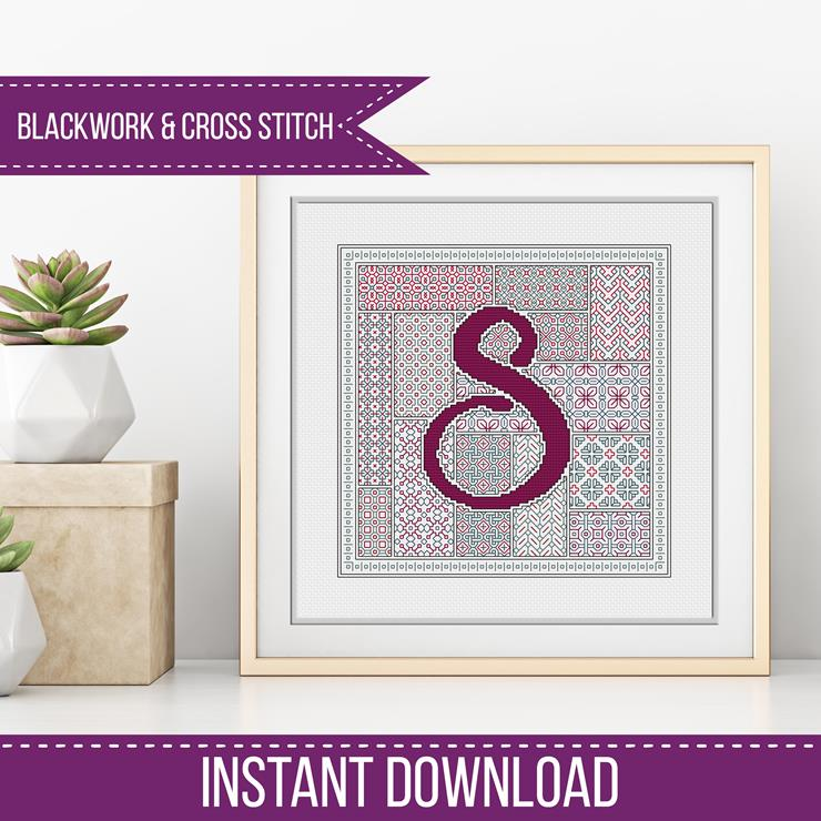 Blackwork Pattern - S - Blackwork Letter