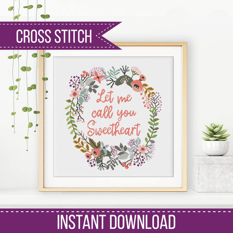 Sweetheart Cross Stitch Wreath