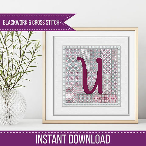 Blackwork Pattern - U - Blackwork Letter
