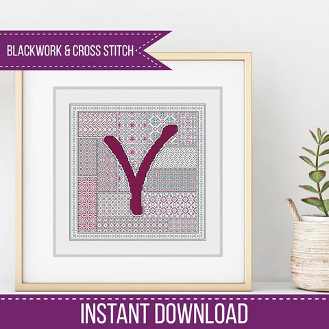 Blackwork Pattern - V - Blackwork Letter