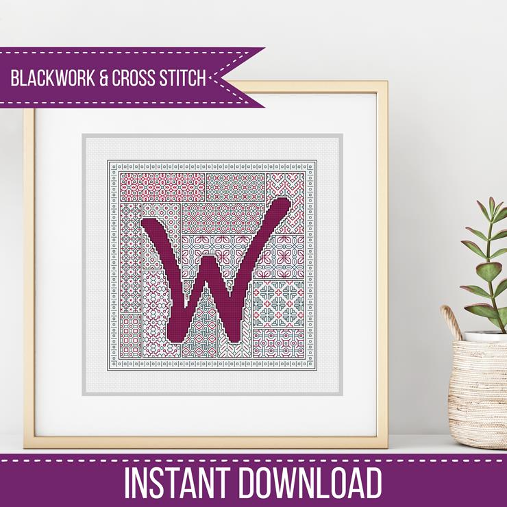 Blackwork Pattern - W - Blackwork Letter