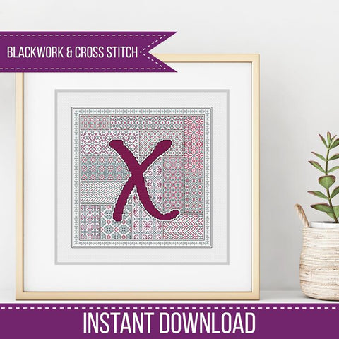 Blackwork Pattern - X - Blackwork Letter