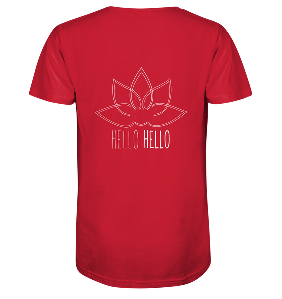 Hello Hello - Mens Organic V-Neck Shirt (White Lotus on the BACK) 3 Colors Available
