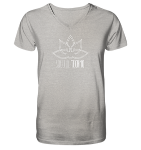 Soulful Techno (white) - Organic V-Neck T-Shirt  - Mens Organic V-Neck Shirt