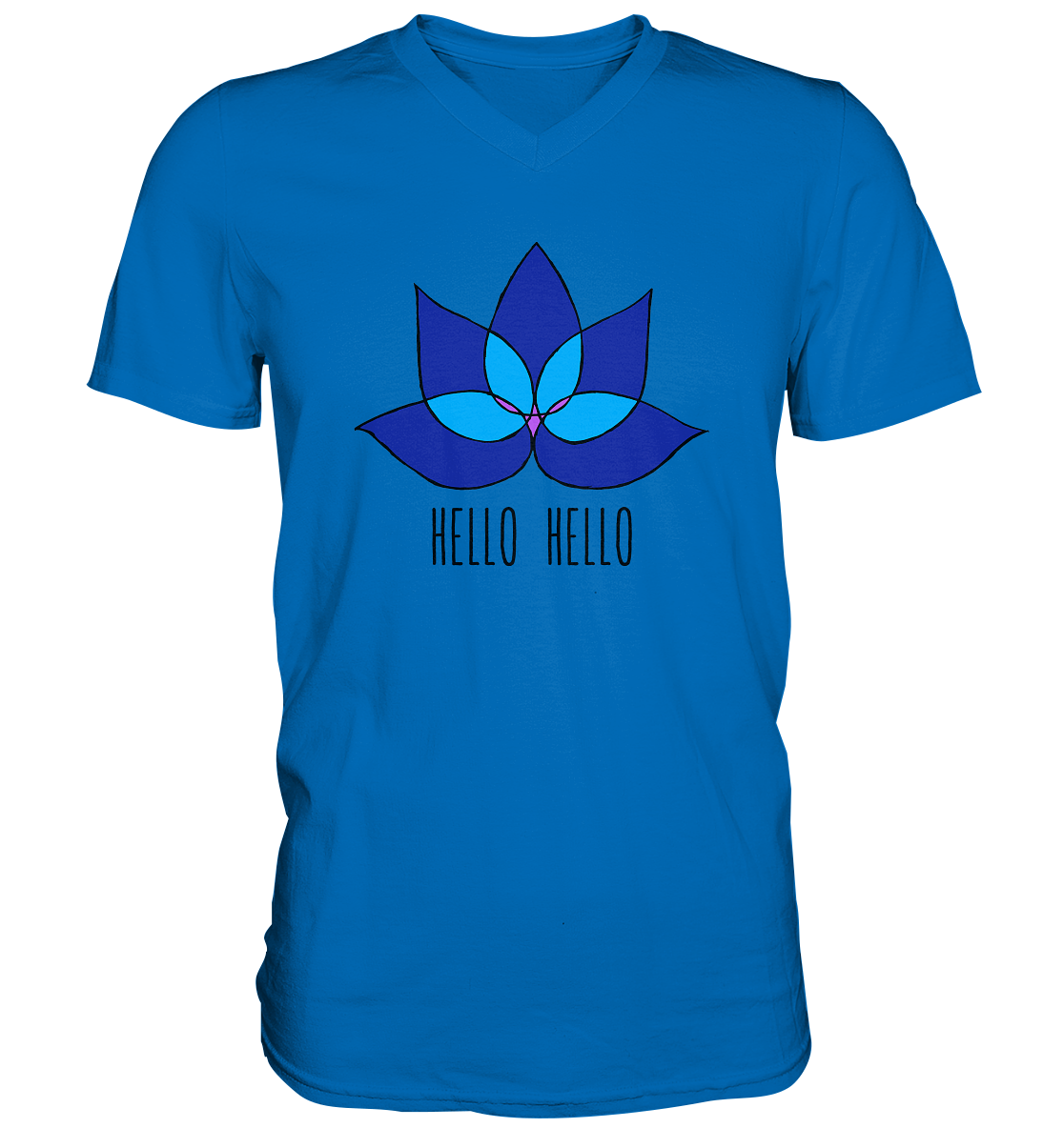 Hello Hello - Mens V-Neck Shirt (Blue Lotus )