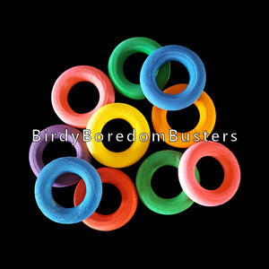 "Brightly colored wood rings measuring 1"" in diameter. Great for making small and intermediate bird toys. Package contains 10 rings."