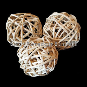"Natural woven vine munch balls measuring approx 1-1/2"" to 2"" (size varies as they are handmade).   Package contains 4 balls."
