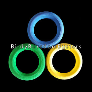 "Brightly colored wood rings measuring 1-3/4"" in diameter.  Package contains 10 rings."