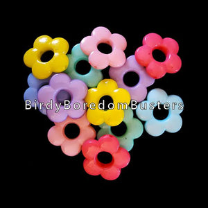"Pastel colored acrylic rings in the shape of a daisy measuring approx 13/16"" with a 1/4"" hole. Will fit on paulie rope, leather lace, 1.6mm chain and cord.  Package contains 50 beads."