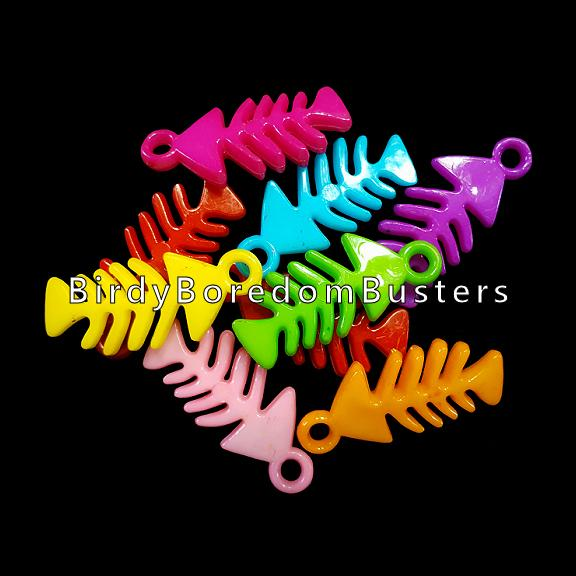 Acrylic fish bone charms measuring approx 1/2