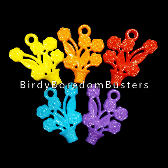 Acrylic flower basket charms measuring 1