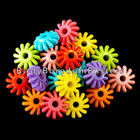 Round acrylic beads in the shape of a gear measuring approx 5/8