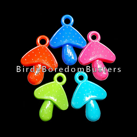 Cute acrylic mushroom charms measuring approx 3/4