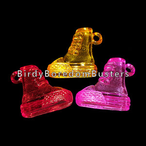 "Transparent colored charms in the shape of a sneaker measuring approx 1-1/8"" by 1-3/16"" with a 3.5mm hole."