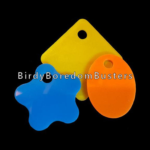 Thick acrylic toy tags in assorted colors & shapes measuring approx 2