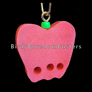 "A brightly colored 2-1/4"" by 1/2"" thick hardwood apple with three 1/4"" holes. Includes pear link for hanging.  Available in assorted colors."