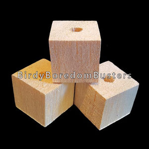 "Uncolored 1"" by 1"" by 1"" balsa blocks with a 1/4"" center hole. Balsa is a very soft wood & makes an excellent choice for birds that love to shred! Recommended for small to intermediate birds.  Package contains 10 cubes."