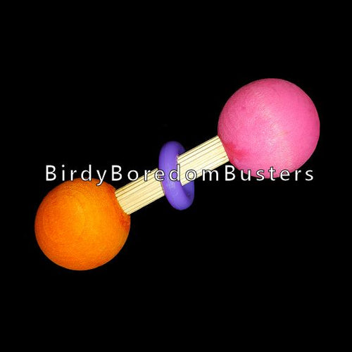 Two hardwood balls joined together with a hardwood dowel and an acrylic ring. Designed for medium to large birds.   Approx length 4
