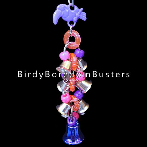Tiny bells, crystal rings, pony beads and a colored vacuum coated bell will excite any small bird! Makes a nice sound when rattled.  Hangs approx 6