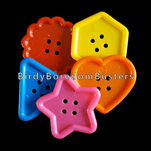 "Large, chewy plastic buttons in assorted shapes measuring approx 2"" in diameter.  Package contains 20 buttons in assorted colors & shapes."