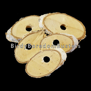 "Natural birch slices measuring 1/4"" thick with a 5/16"" center hole. The sizes of each slice will vary, but average between 2"" to 2-3/4"". Recommended for making small and intermediate sized bird toys.  Package contains 6 pieces."