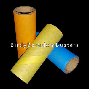 "Non-toxic, bird safe paper tubes are an excellent foot toy & make great foraging toys when stuffed! Approx size 3"" by 1"".   Package contains 3 tubes."