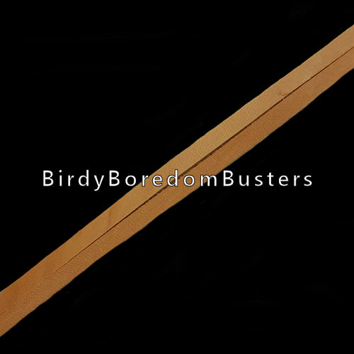 Bird-safe vegetable tanned leather strips measuring approx 1/4