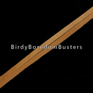 "Bird-safe vegetable tanned leather strips measuring approx 1/4"" by 20 in length."