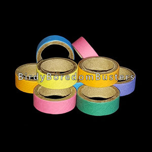 "Non-toxic, bird safe compressed paper rings can be used as foot toys, slipped over small bird perches or added to existing toys. Approx size 1"" x 3/8"".   Package contains 6 bagels in assorted colors."