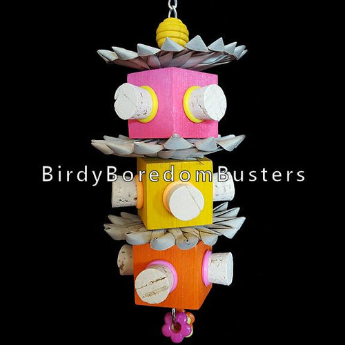 Palm leaf flowers & pine blocks with corks inserted on all sides. Hanging on nickel plated chain, this toy has many soft textures for your bird to explore.  Hangs approx 10