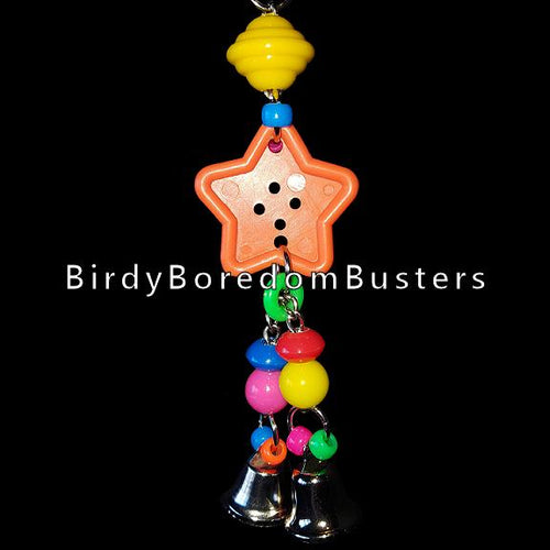 A colorful mixture of beads hanging from a big button with bells on nickel plated chain. The chain can be pulled slightly from side to side. A great toy for birds who love beads and bells and like to make a little noise!  Hangs approx 8-1/2