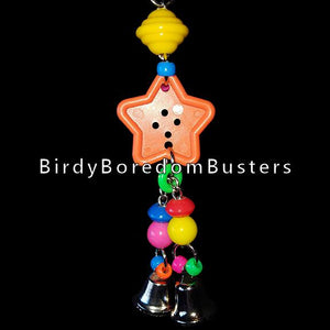 "A colorful mixture of beads hanging from a big button with bells on nickel plated chain. The chain can be pulled slightly from side to side. A great toy for birds who love beads and bells and like to make a little noise!  Hangs approx 8-1/2"" with link."