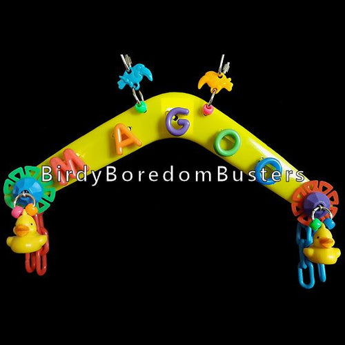 Plastic alphabets, spin wheels, plastic chain and little ducks on a plastic boomerang. Can be hung inside or out of your bird's cage. Designed for birds of all sizes.  Please add your bird's name in comments on our cart.  Measures approx 6