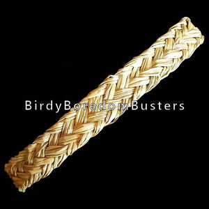 "Natural, braided seagrass approx 7/8"" wide by 3/16"" thick. Makes a great shreddable addition to all toys. Similar to palm leaf shredders, but thicker and crunchier!  Coil contains approx 20 feet."